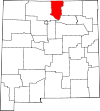 State map highlighting Taos County