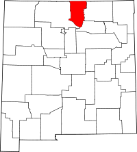 Map of New Mexico highlighting Taos County
