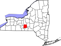 Map of New York highlighting Tompkins County