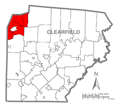 Map of Clearfield County, Pennsylvania highlighting Sandy Township