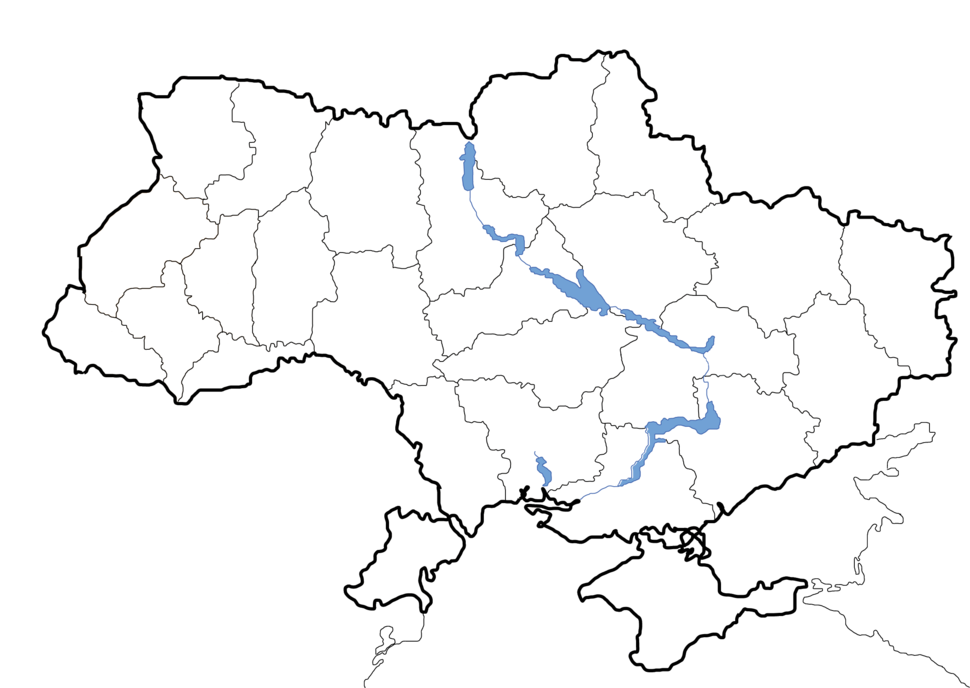 Map of Ukraine political simple blank
