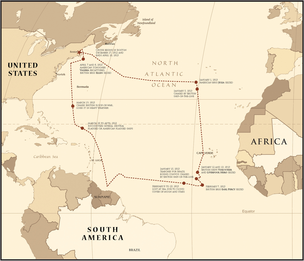 Map of the Frigate Chesapeake%27s First War of 1812 Cruise