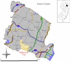 Map of Maplewood in Essex County. Inset: Location of Essex County highlighted in the State of New Jersey.