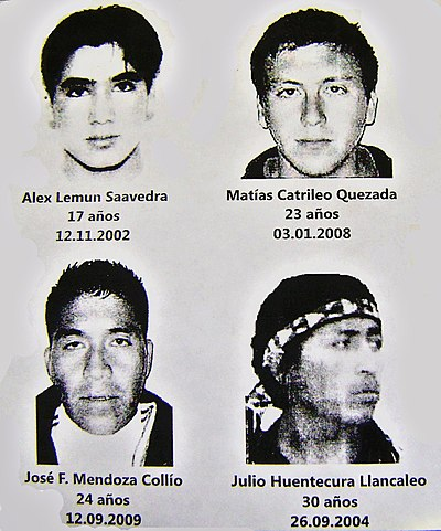 Mapuche activists killed in confrontations with the Chilean police in the 2000s. Mapuche conflict (youngs Mapuche dead for Chilean State in 00's).JPG