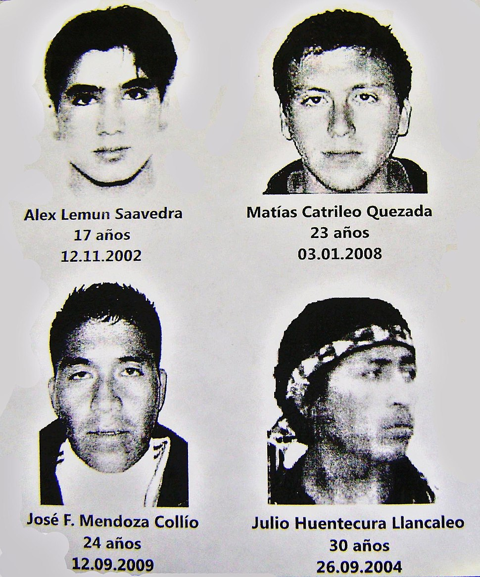 Mapuche conflict (youngs Mapuche dead for Chilean State in 00's)