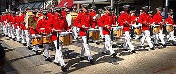 Marching band drummers in parade at Texas Stat...