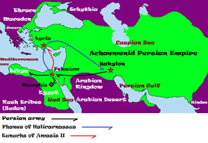 Battle of Pelusium (525 BC) - The possible path of Cambyses, Phanes of Halicarnassus, and Amasis's forces sent after Phanes; Note: The itinerary paths depicted are supposed and by no means certain. Persian forces - black line, Phanes of Halicarnassus - blue line, and Egyptians - red line.