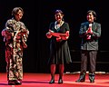 Mari Kotani, Pat Murphy and Takayuki Tatsumi at the Hugo Awards Ceremony 2017 at Worldcon in Helsinki.jpg