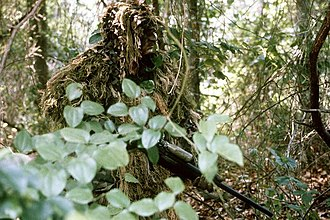 Military camouflage - Sniper wearing a ghillie suit
