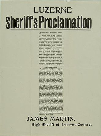 """Lattimer massacre - Proclamation by Sheriff Martin, dated September 6, 1897, warning against unlawful assembly, """"tumult"""", and interference with the peaceful operation of any mines or mining equipment"""