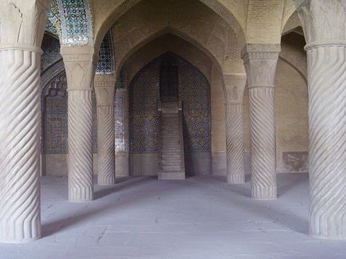 The Bab stood on this pulpit in the Masjid-i-Vakil, addressing the populace of Shiraz in September 1846 Masjidivakil2008.JPG