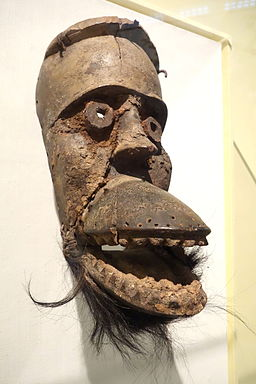 Mask with Hinged Jaw (Bu Gle) - Dan people, Liberia, 19th century, wood, organic materials, monkey skin, iron nails - Brooklyn Museum - Brooklyn, NY - DSC08599