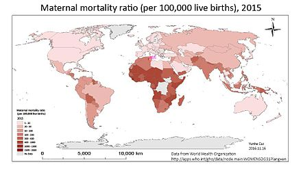 Maternal mortality ratio, 2015