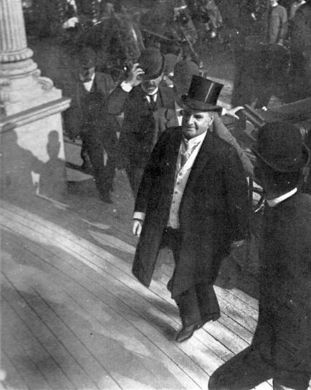 McKinley entering the Temple of Music on September 6, 1901, shortly before the shots were fired McKinley last photo.jpg