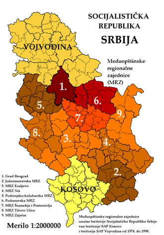 Socialist Republic of Serbia - Administrative divisions of SR Serbia 1974-1990