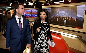 Margarita Simonyan - Former President of Russia Dmitry Medvedev visits RT offices with Editor-in-Chief Margarita Simonyan in April 2010.