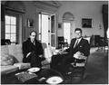 Meeting with Finance Minister of France. Giscard D'Estaing, President Kennedy. White House, Oval Office. - NARA - 194179.tif