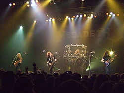 Megadeth live at Brixton Academy, London, UK, 24 Feb 2008. (l-r) James LoMenzo, Dave Mustaine, Shawn Drover and Chris Broderick.