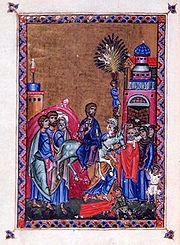 Entrada de Jesús en Jerusalén. Grabado de 1140.