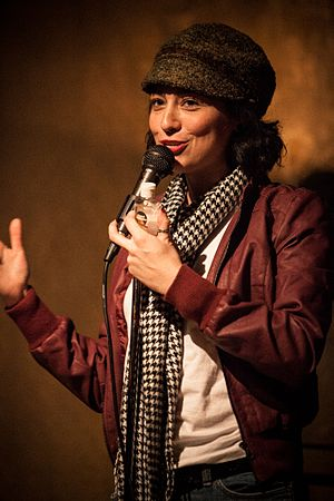 Melissa Villaseñor - Villaseñor performing in 2013, at the Blind Barber nightclub/barber shop Culver City, California