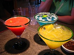 Margaritas come in a variety of flavors and colors.