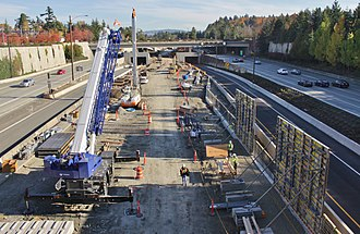 Mercer Island station - Under construction in October 2017
