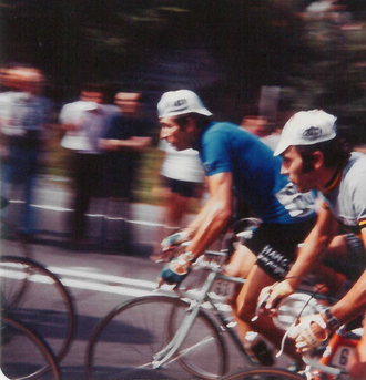 1974 UCI Road World Championships - Felice Gimondi and Eddy Merckx in action on the climb of Voie Camillien Houde.