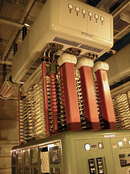 A 150-kilovolt, 1800 amp mercury-arc valve at Manitoba Hydro's Radisson converter station, August 2003 Mercury Arc Valve, Radisson Converter Station, Gillam MB.jpg