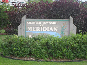Meridian Charter Township, Michigan - Meridian Charter Township sign  along Grand River Avenue (M-43)