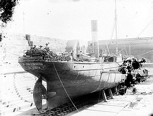 Merksworth (1874) - The collier Merksworth collided with the steamer Manly in Sydney Harbour on 23 December 1896 image of the vessel undergoing repairs in Fitzroy dry dock