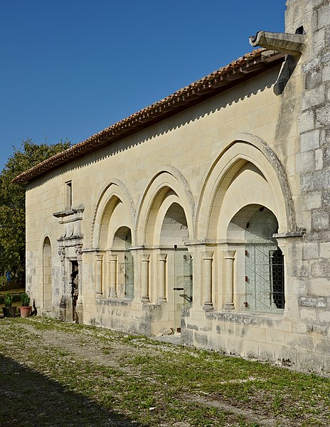 West entrance of the chapter hall, abbey of La Frenade, Merpins, Charente, France.