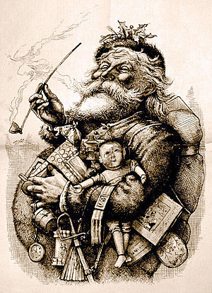 "Santa Claus - 1881 illustration by Thomas Nast who, along with Clement Clarke Moore's poem ""A Visit from St. Nicholas"", helped to create the modern image of Santa Claus"