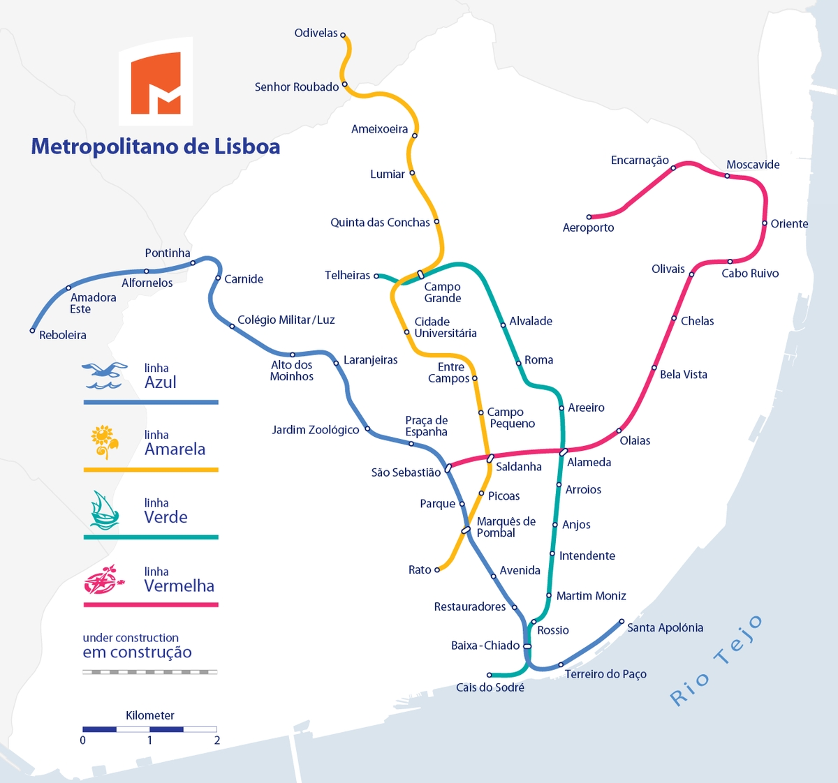 metro bela vista mapa Lista de estações do Metropolitano de Lisboa – Wikipédia, a  metro bela vista mapa