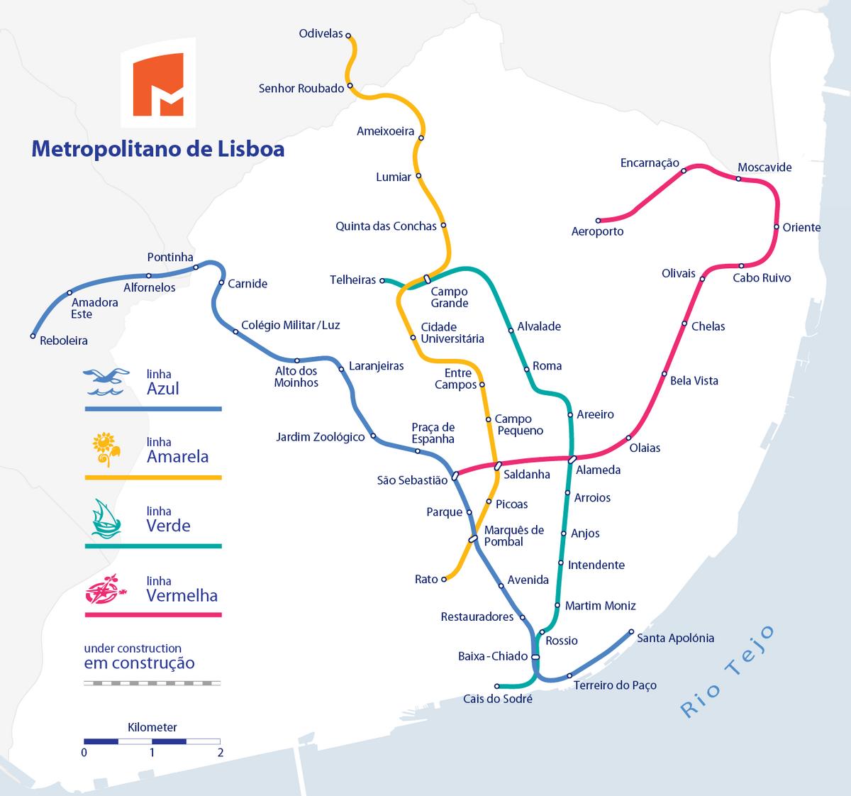 mapa metro lisboa actualizado Lista de estações do Metropolitano de Lisboa – Wikipédia, a  mapa metro lisboa actualizado