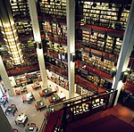 Interior view of the mezzanine from several storeys above the first floor, at the Thomas Fisdher Rare Book Library