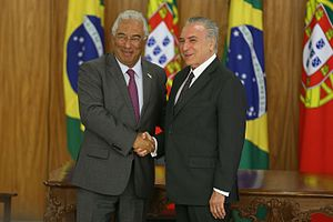 Brazil–Portugal relations - Portuguese Prime Minister António Costa and Brazilian President Michel Temer in 2016.