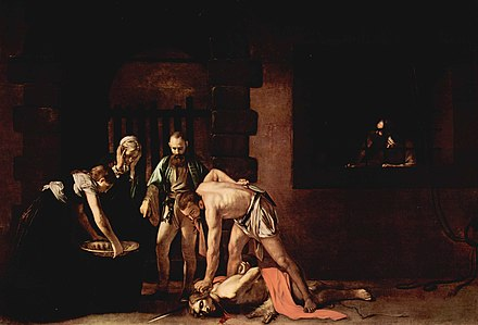The Beheading of Saint John, by Caravaggio. Oil on canvas, 361 cm x 520 cm (142.13 in x 204.72 in). Oratory of the Co-Cathedral. Michelangelo Caravaggio 021.jpg