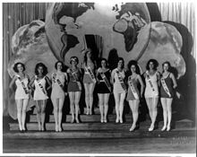 Lineup of pageant contestants