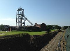 Miyanohara Pit of Miike Coal Mine from bridge on site of Miike Railway Main Line.jpg