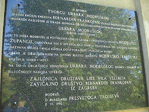 Bernardin Frankopan - Image: Modruš (Croatia) Spomen ploča Bernardinu Frankopanu