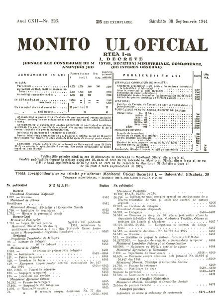 File:Monitorul Oficial al României. Partea 1 1944-09-30, nr. 226.pdf