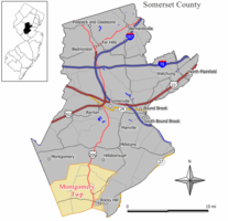 Map of Montgomery Township in Somerset County. Inset: Location of Somerset County highlighted in the State of New Jersey.