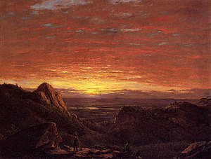 Catskill (town), New York - Frederic Edwin Church, Morning, Looking East over the Hudson Valley from Catskill Mountains, 1848
