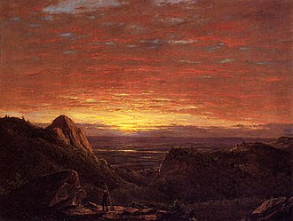 Hudson Valley - Morning, Looking East over the Hudson Valley from Catskill Mountains by Frederic Edwin Church (1848), of the Hudson River School