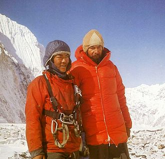 Zygmunt Andrzej Heinrich - Andrzej Heinrich with Pasang Norbu Sherpa on Mount Everest
