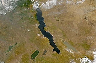 Rift Valley lakes - Some of the Rift Valley lakes. From left to right they are Lake Upemba, Lake Mweru, Lake Tanganyika (largest), and Lake Rukwa. This image spans the SE corner of the Democratic Republic of the Congo, NE Zambia, and southern Tanzania.