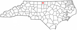 Location of Yanceyville, North Carolina