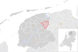 Locatie van de gemeente Achtkarspelen (gemeentegrenzen CBS 2016)
