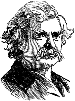 English: Portrait drawing of Mark Twain's head
