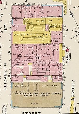 Bowery Theatre - Image: NYC block including Atlantic Garden and Thalia Theatre, 1905